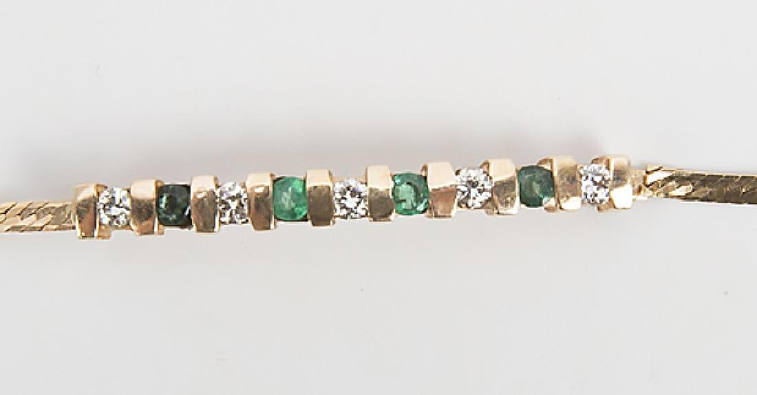 LADIES 14K YELLOW GOLD EMERALD DIAMOND BRACELET - 2