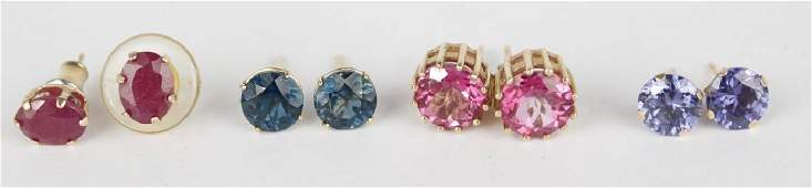 10K YELLOW GOLD AND GEMSTONE EARRINGS  LOT OF 4