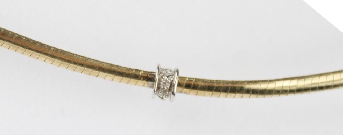 10K YELLOW GOLD HERRINGBONE DIAMOND NECKLACE - 2