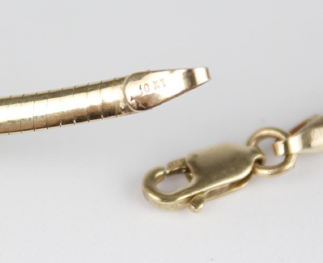 10K YELLOW GOLD HERRINGBONE DIAMOND NECKLACE - 3