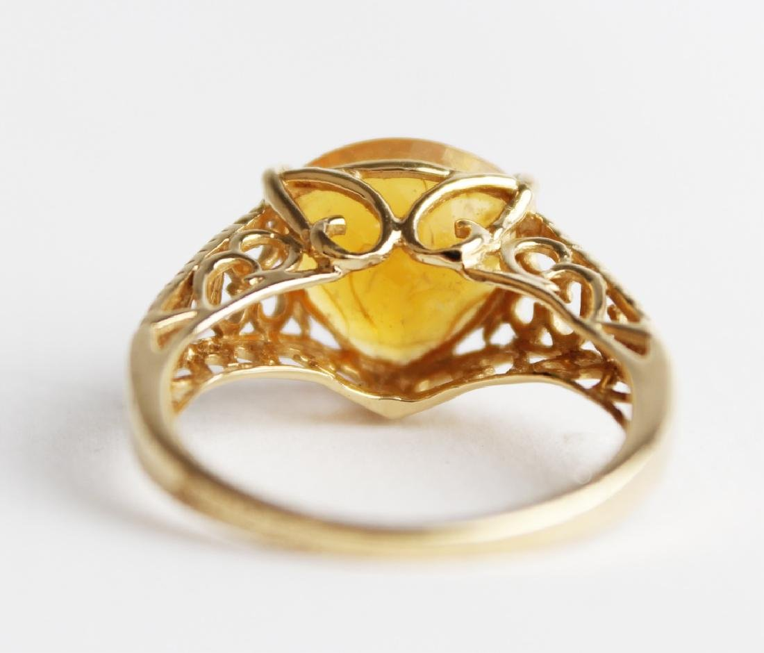 18K YELLOW GOLD AND CITRINE RING - 3