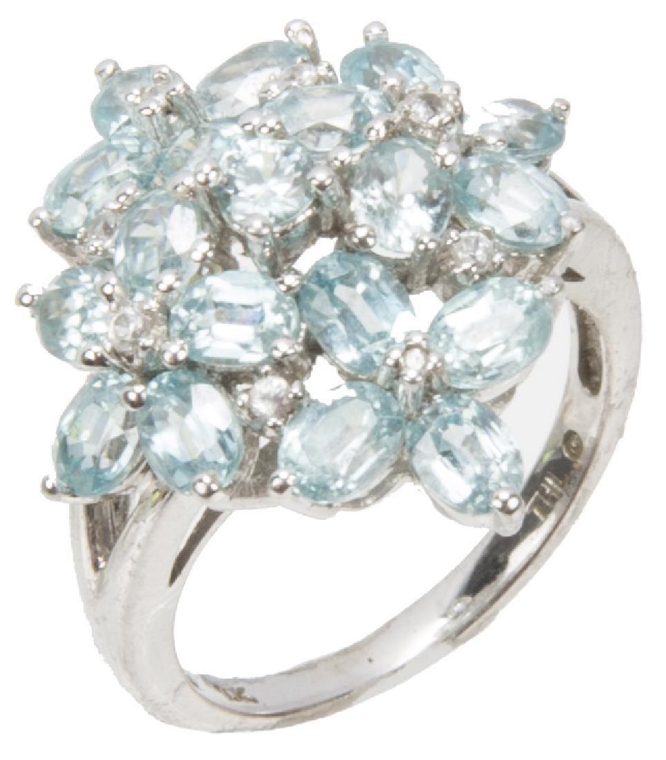 10K WHITE GOLD BLUE TOPAZ CLUSTER RING