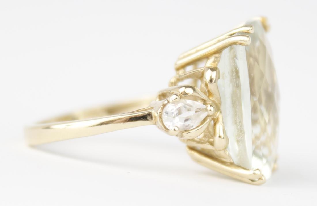 10K YELLOW GOLD PERIDOT LADIES FASHION RING - 3