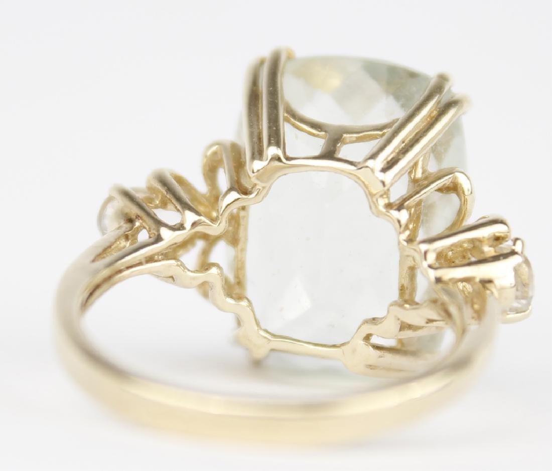 10K YELLOW GOLD PERIDOT LADIES FASHION RING - 4