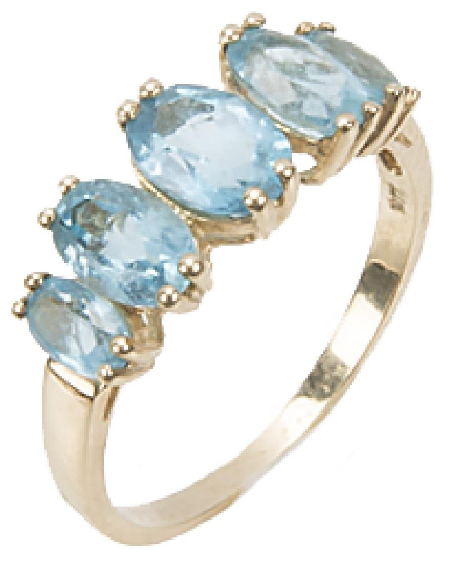 10K YELLOW GOLD BLUE TOPAZ BAND RING