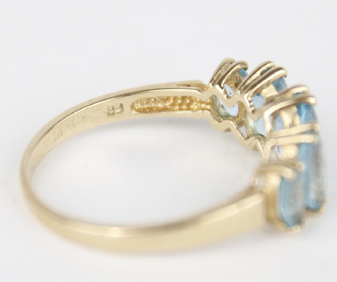 10K YELLOW GOLD BLUE TOPAZ BAND RING - 2