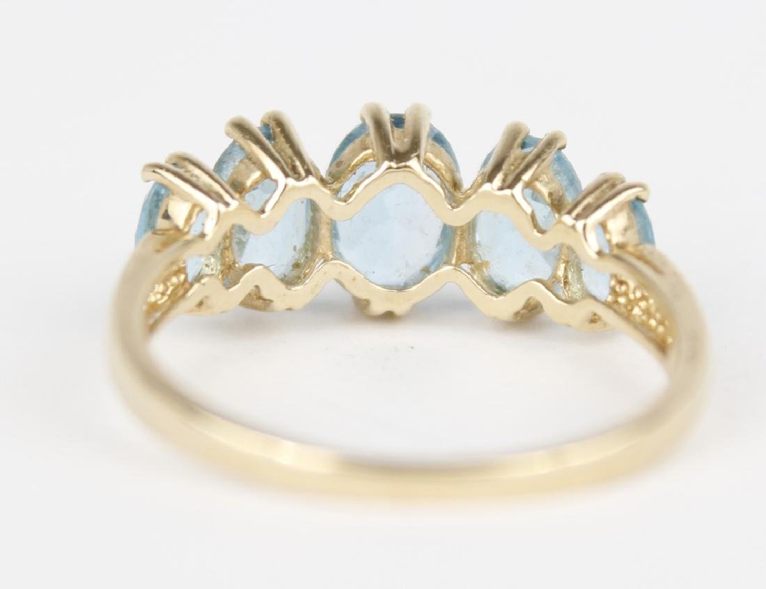 10K YELLOW GOLD BLUE TOPAZ BAND RING - 3