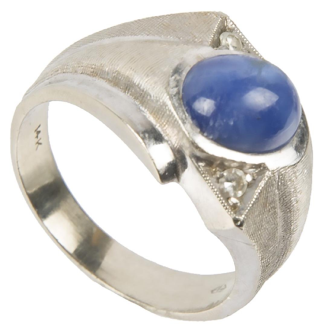 MENS 14K WHITE GOLD BLUE STAR SAPPHIRE RING - 2