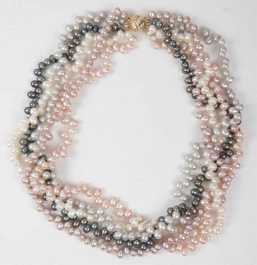 COLORED PEARL FIVE STRAND BEAD NECKLACE