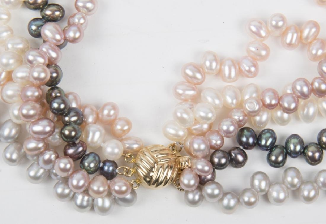 COLORED PEARL FIVE STRAND BEAD NECKLACE - 2