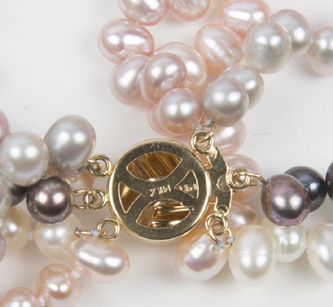 COLORED PEARL FIVE STRAND BEAD NECKLACE - 3