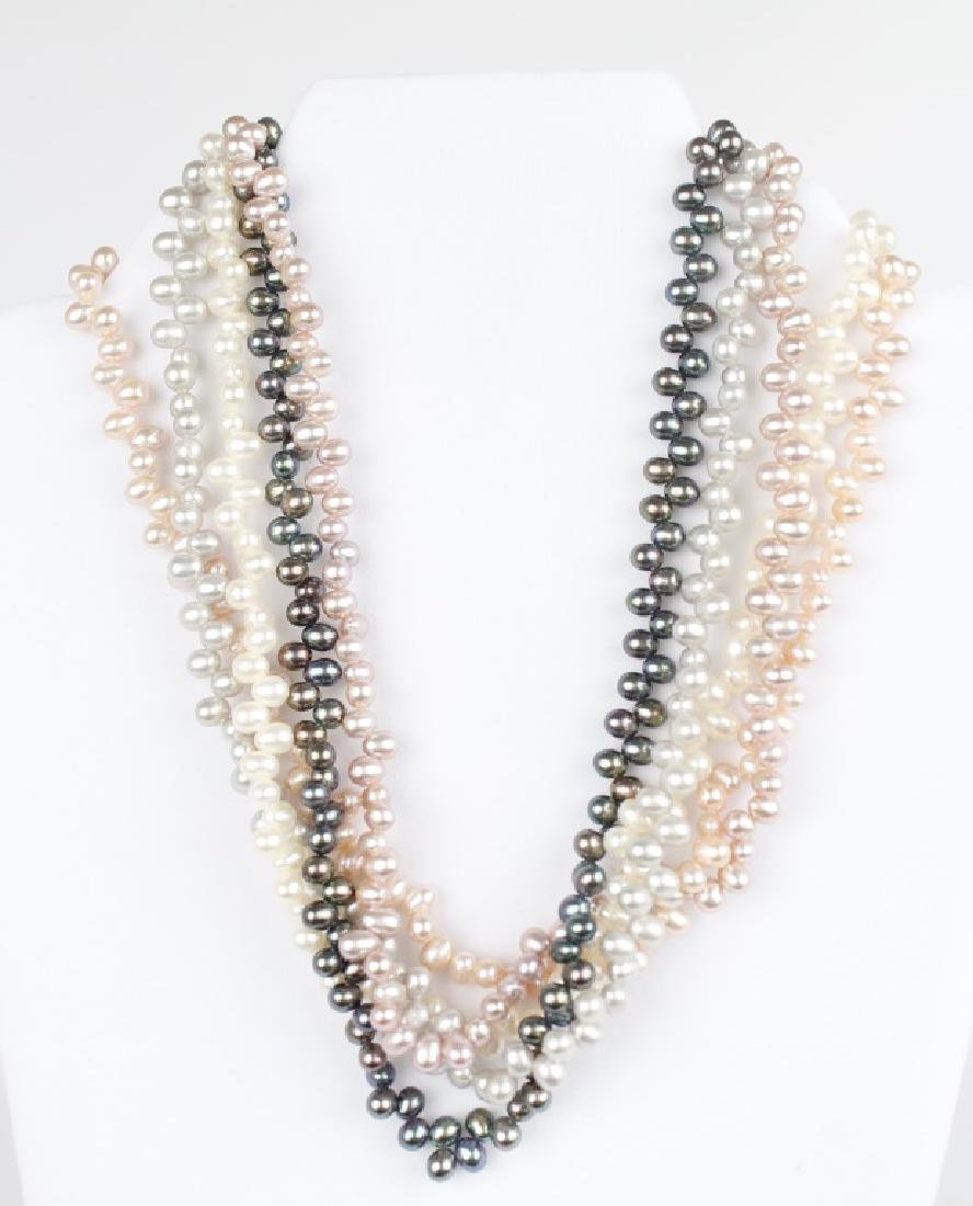 COLORED PEARL FIVE STRAND BEAD NECKLACE - 4