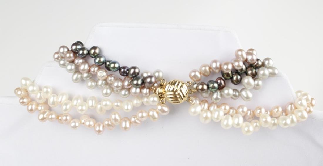 COLORED PEARL FIVE STRAND BEAD NECKLACE - 5