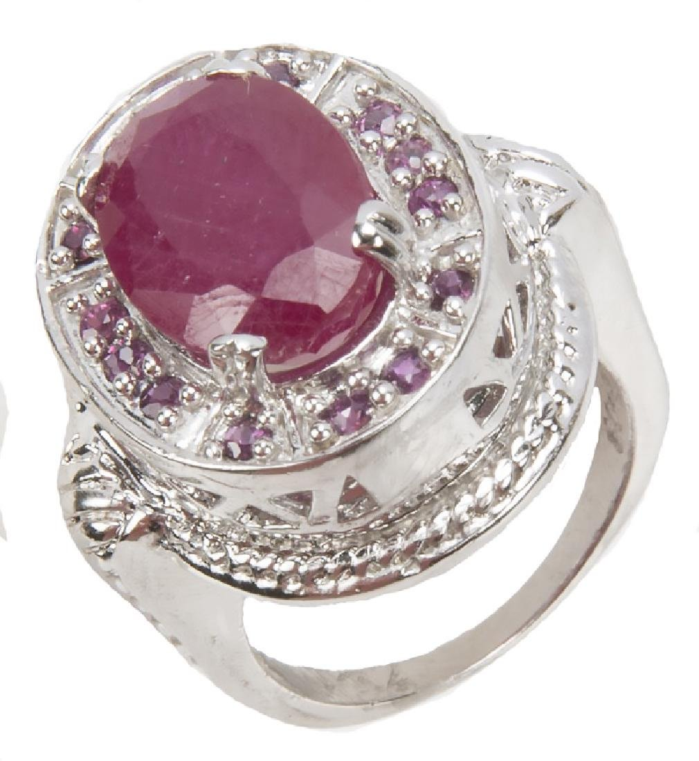 STERLING SILVER AND RUBY RING - 2
