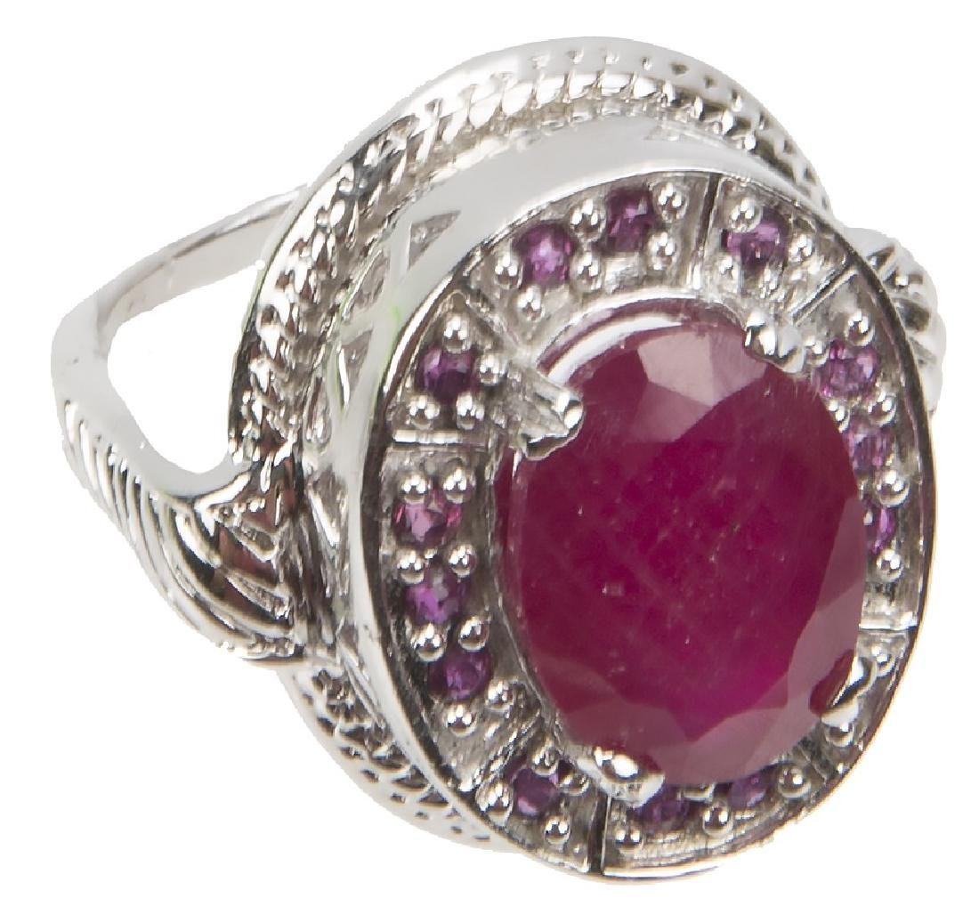 STERLING SILVER AND RUBY RING - 3