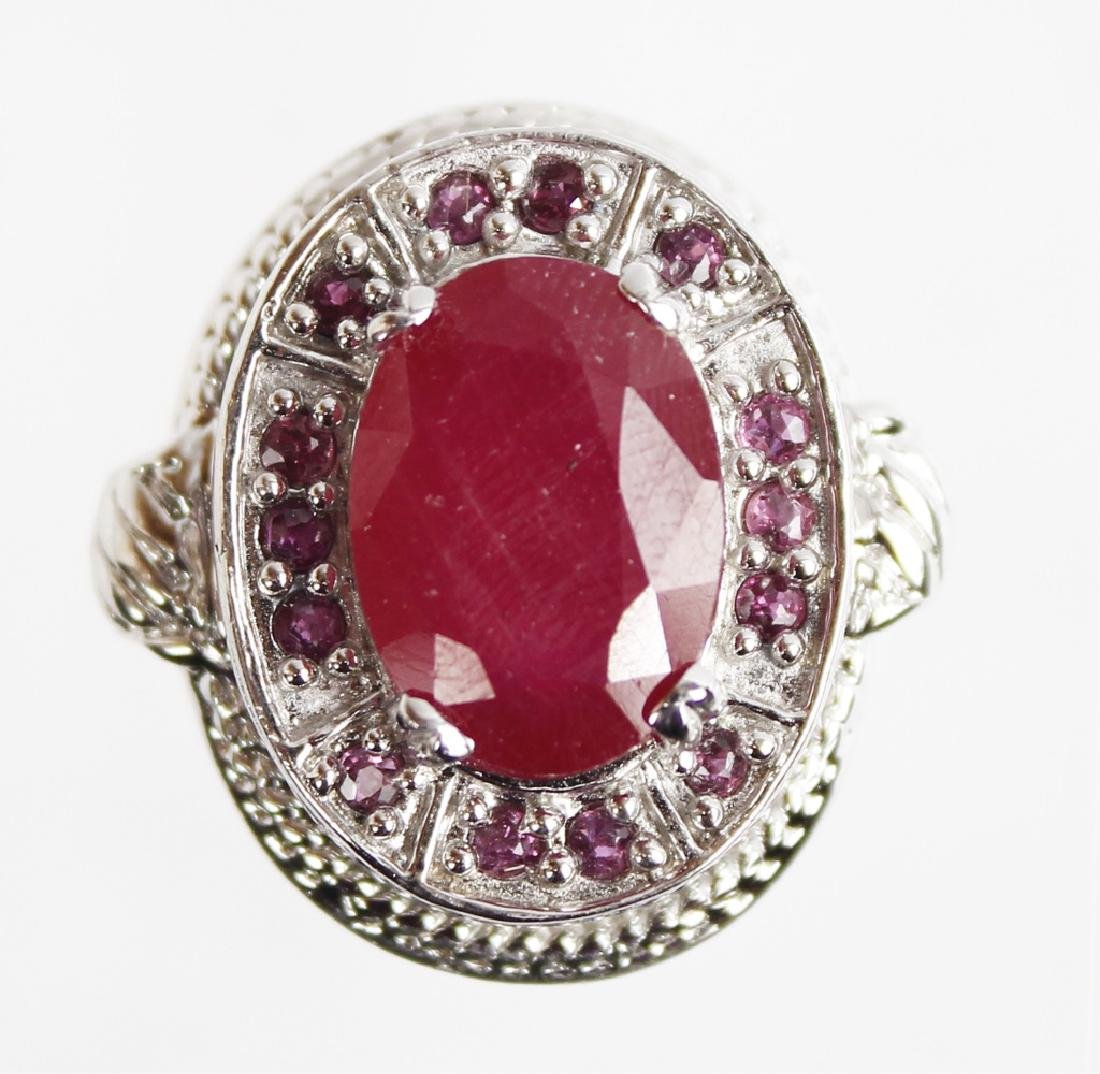 STERLING SILVER AND RUBY RING - 5
