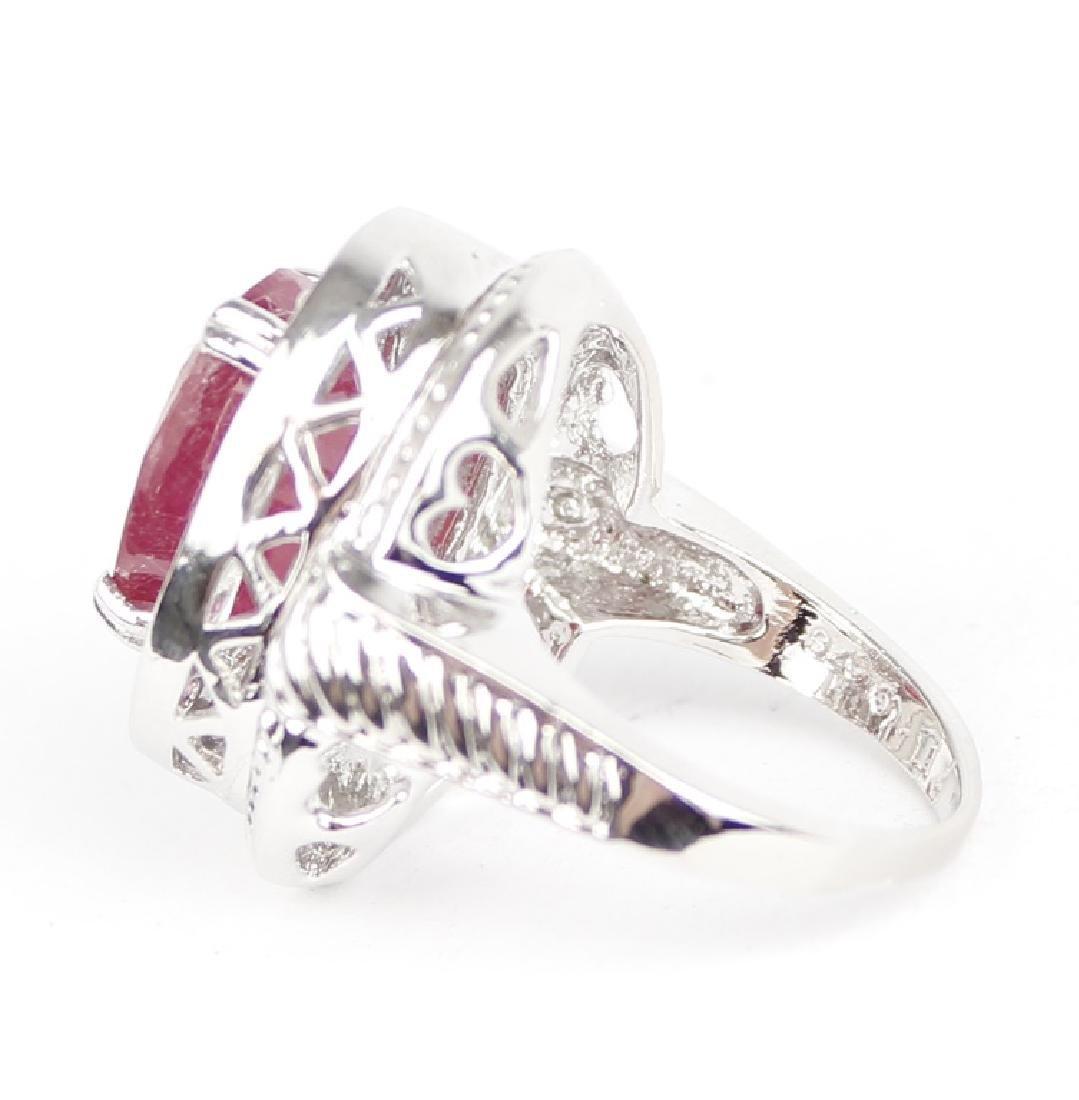 STERLING SILVER AND RUBY RING - 8