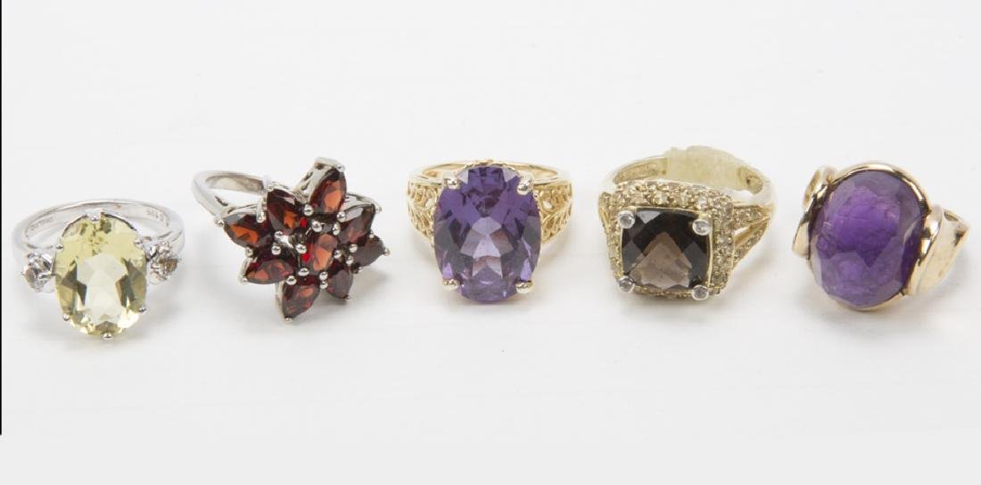 .925 STERLING SILVER GEMSTONE RINGS - LOT OF FIVE