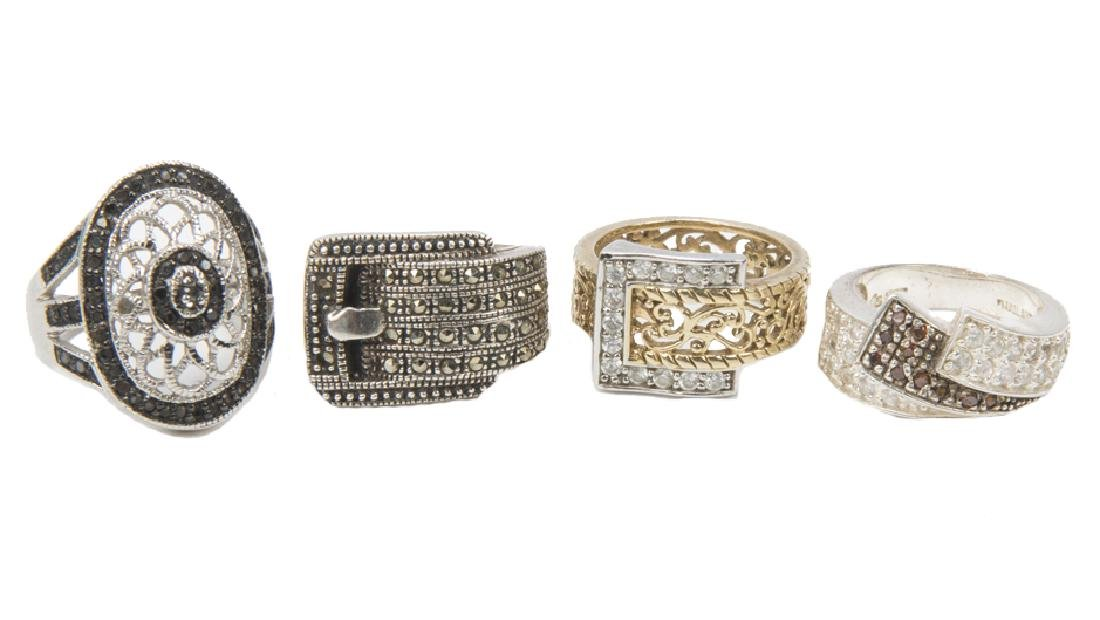 STERLING SILVER FASHION RINGS DIAMONDS LOT OF 4