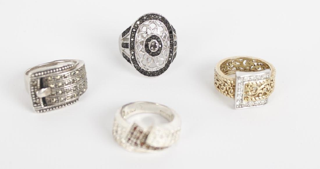 STERLING SILVER FASHION RINGS DIAMONDS LOT OF 4 - 2