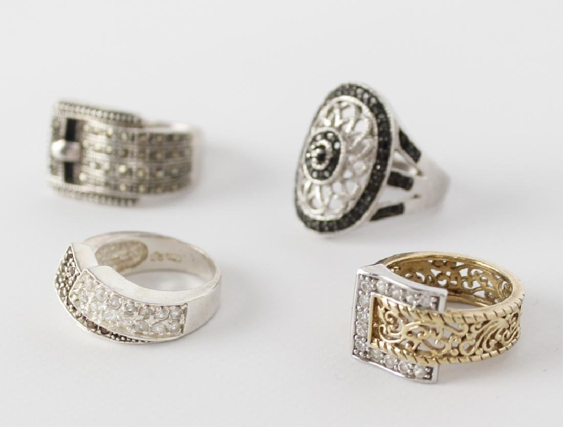 STERLING SILVER FASHION RINGS DIAMONDS LOT OF 4 - 3