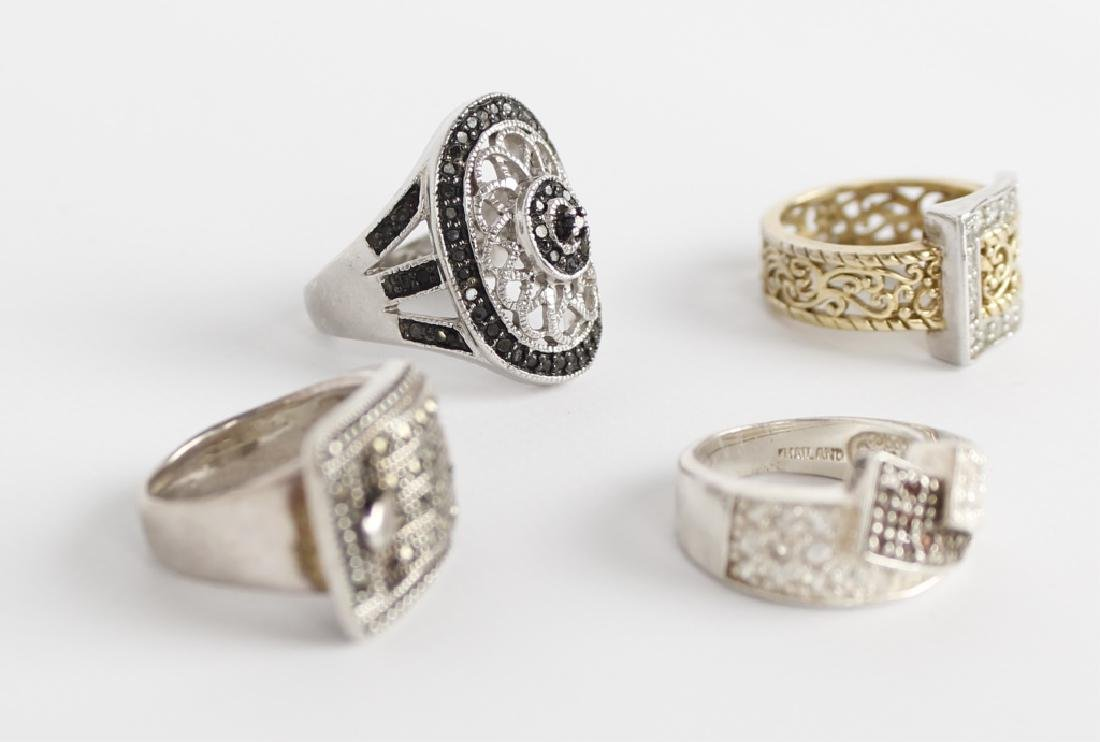 STERLING SILVER FASHION RINGS DIAMONDS LOT OF 4 - 4