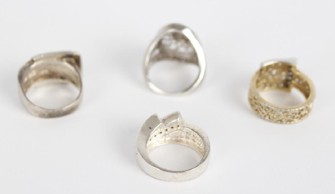 STERLING SILVER FASHION RINGS DIAMONDS LOT OF 4 - 5