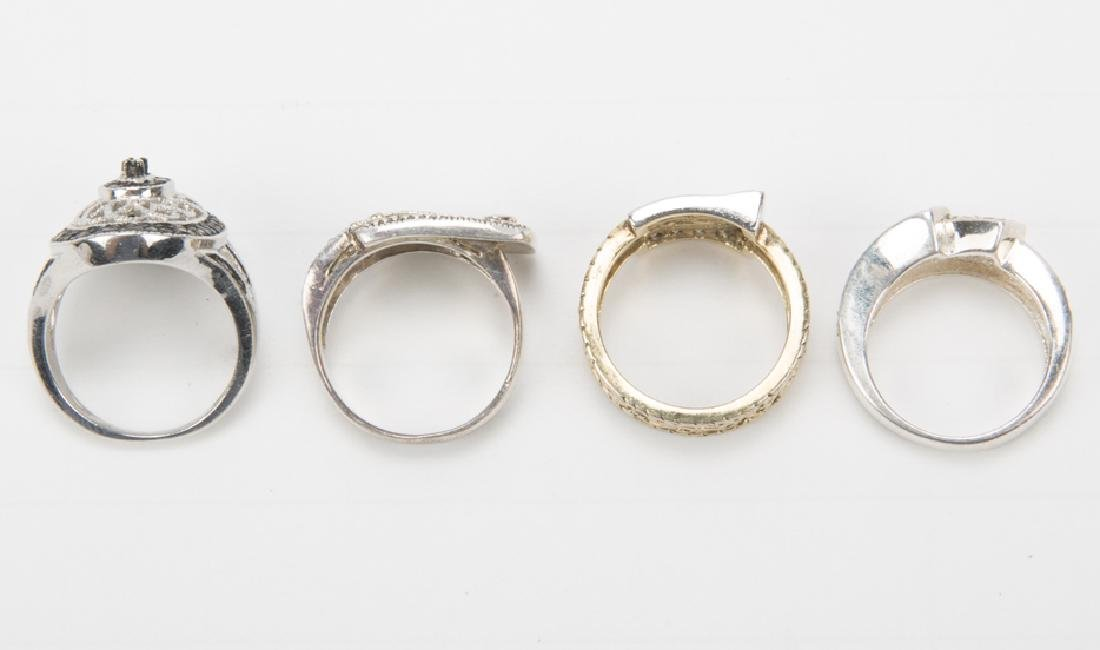 STERLING SILVER FASHION RINGS DIAMONDS LOT OF 4 - 6