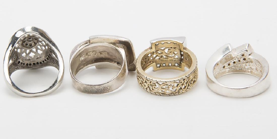 STERLING SILVER FASHION RINGS DIAMONDS LOT OF 4 - 7