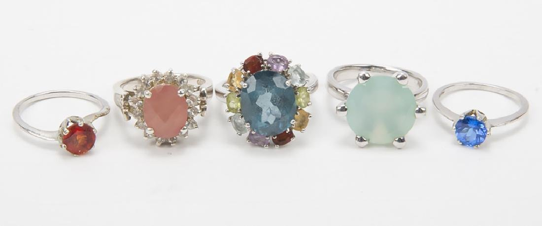STERLING SILVER FASHION RINGS DIAMONDS LOT OF 5