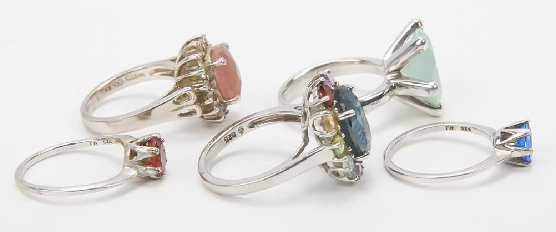 STERLING SILVER FASHION RINGS DIAMONDS LOT OF 5 - 2