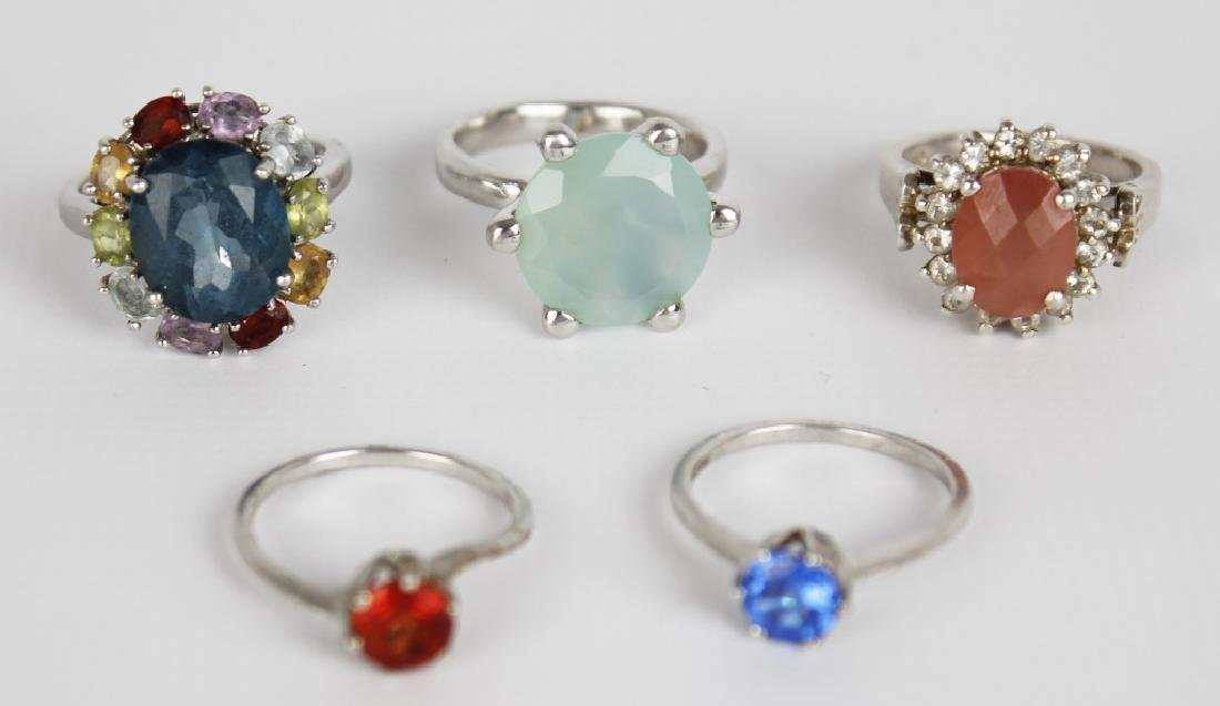 STERLING SILVER FASHION RINGS DIAMONDS LOT OF 5 - 3