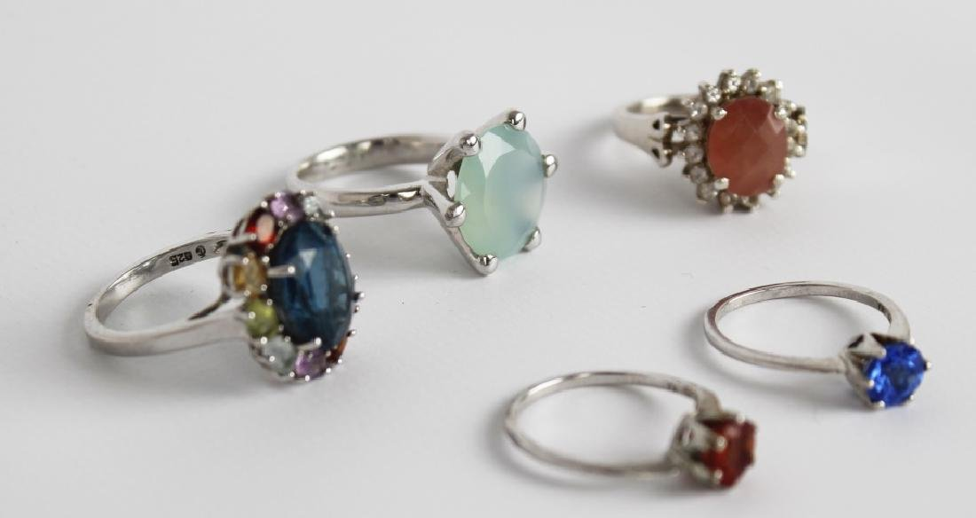 STERLING SILVER FASHION RINGS DIAMONDS LOT OF 5 - 5