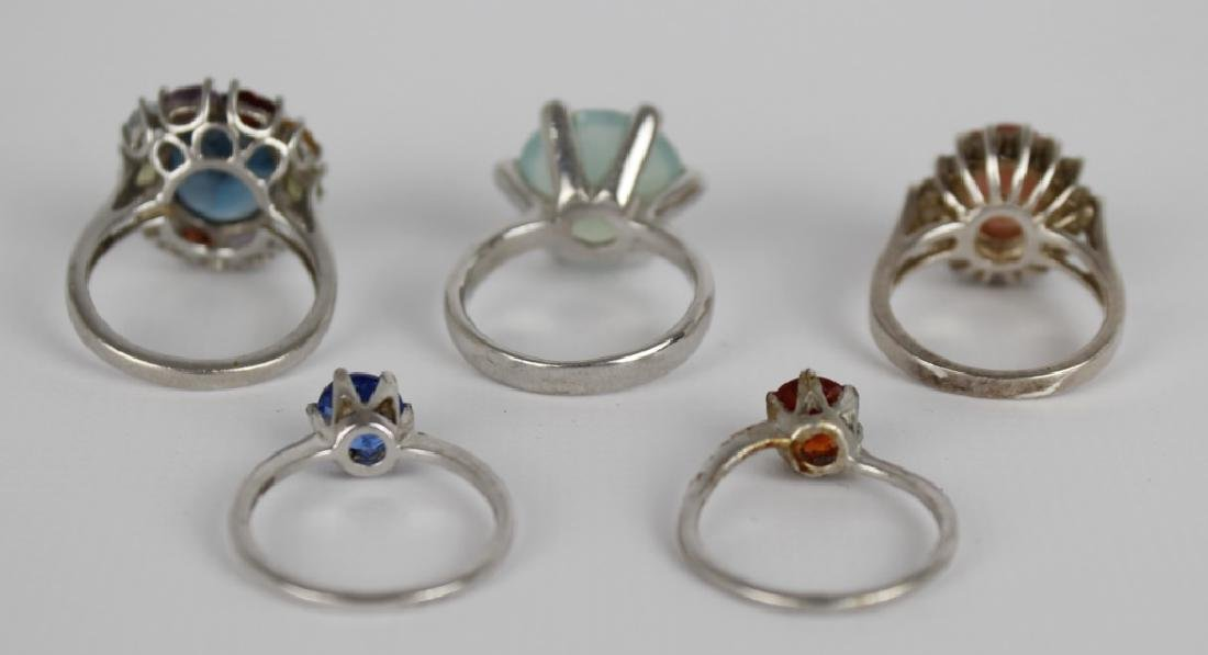 STERLING SILVER FASHION RINGS DIAMONDS LOT OF 5 - 6