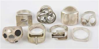 STERLING SILVER MODERNIST FASHION RINGS
