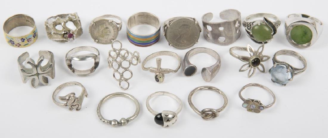 STERLING SILVER LADIES FASHION RINGS LOT OF 20
