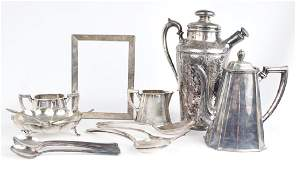 SILVER PLATE SERVING ITEMS & STERLING SILVER FRAME
