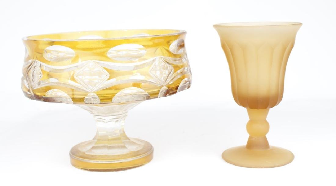 DECORATIVE GLASS BOWL AND GOBLET