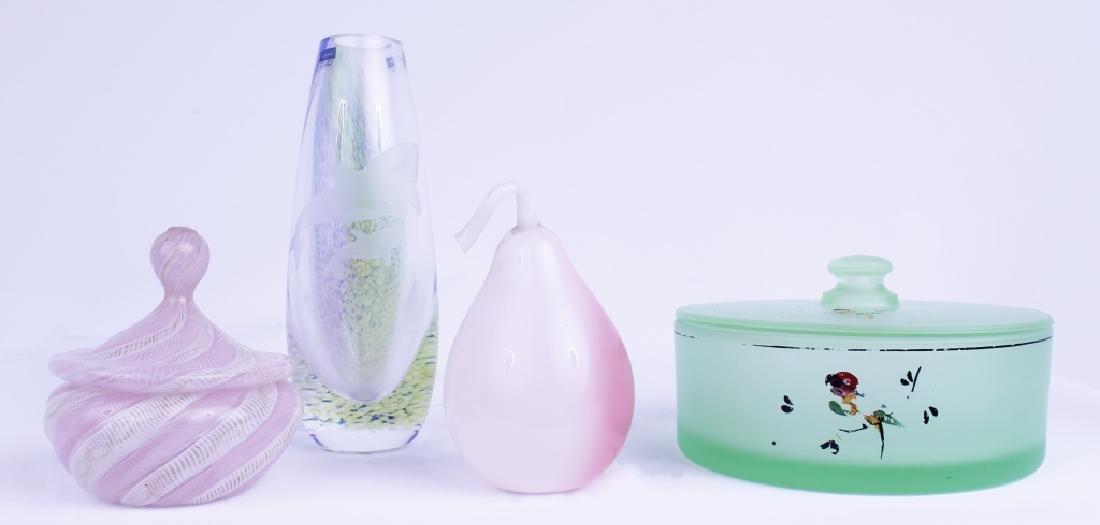 DECORATIVE GLASS VASE CANDY DISH + PEAR