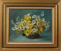 PAUL LONGENECKER OIL ON CANVAS FLORAL PAINTING