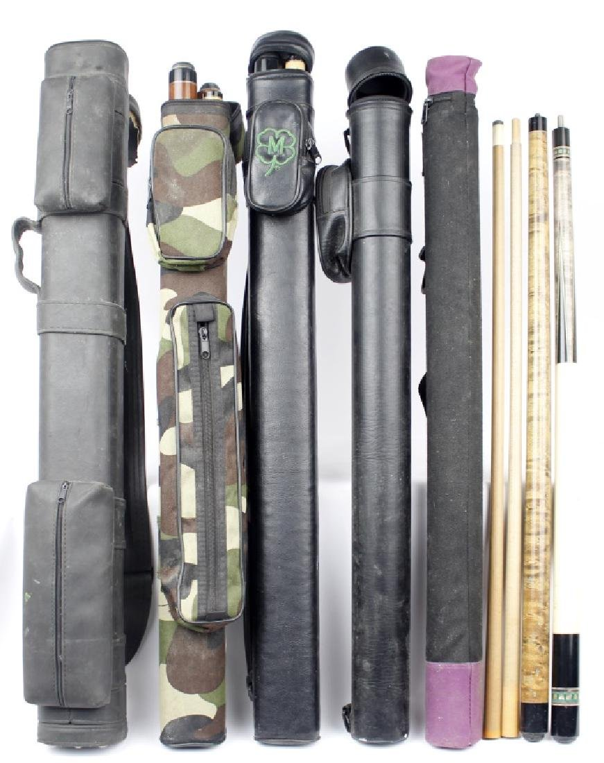 POOL CUE STICKS AND CASES LOT OF 5