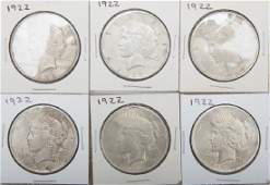 UNITED STATES PEACE SILVER DOLLARS -- LOT OF 6