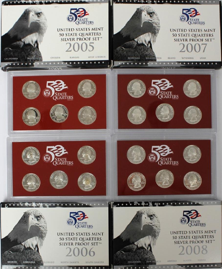US MINT SILVER PROOF SETS 2005-2008 - LOT OF 4