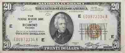 U.S. NATIONAL CURRENCY $20.00 NOTE 1929 RICHMOND