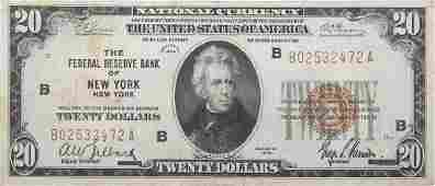 U.S. NATIONAL CURRENCY $20.00 NOTE 1929 NEW YORK