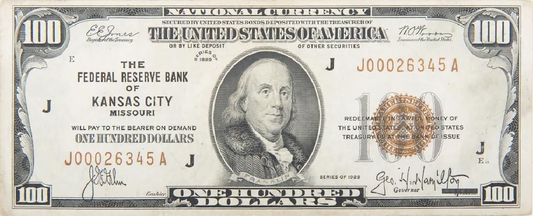 U.S. NATIONAL CURRENCY $100.00 NOTE 1929 KANSAS