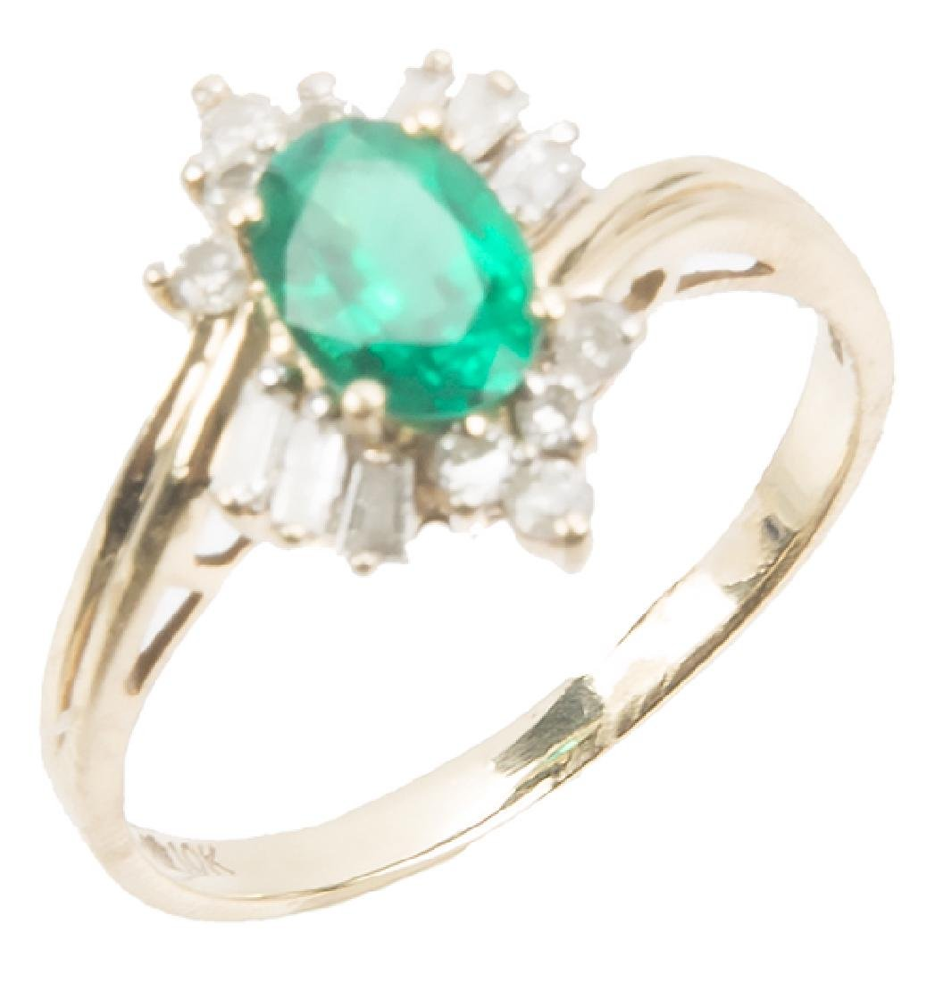 LADIES 10K YELLOW GOLD DIAMOND EMERALD RING
