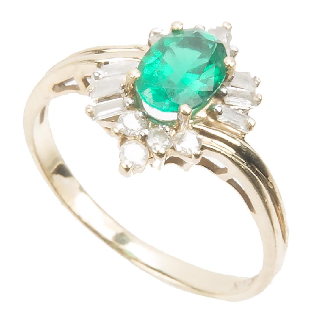 LADIES 10K YELLOW GOLD DIAMOND EMERALD RING - 2
