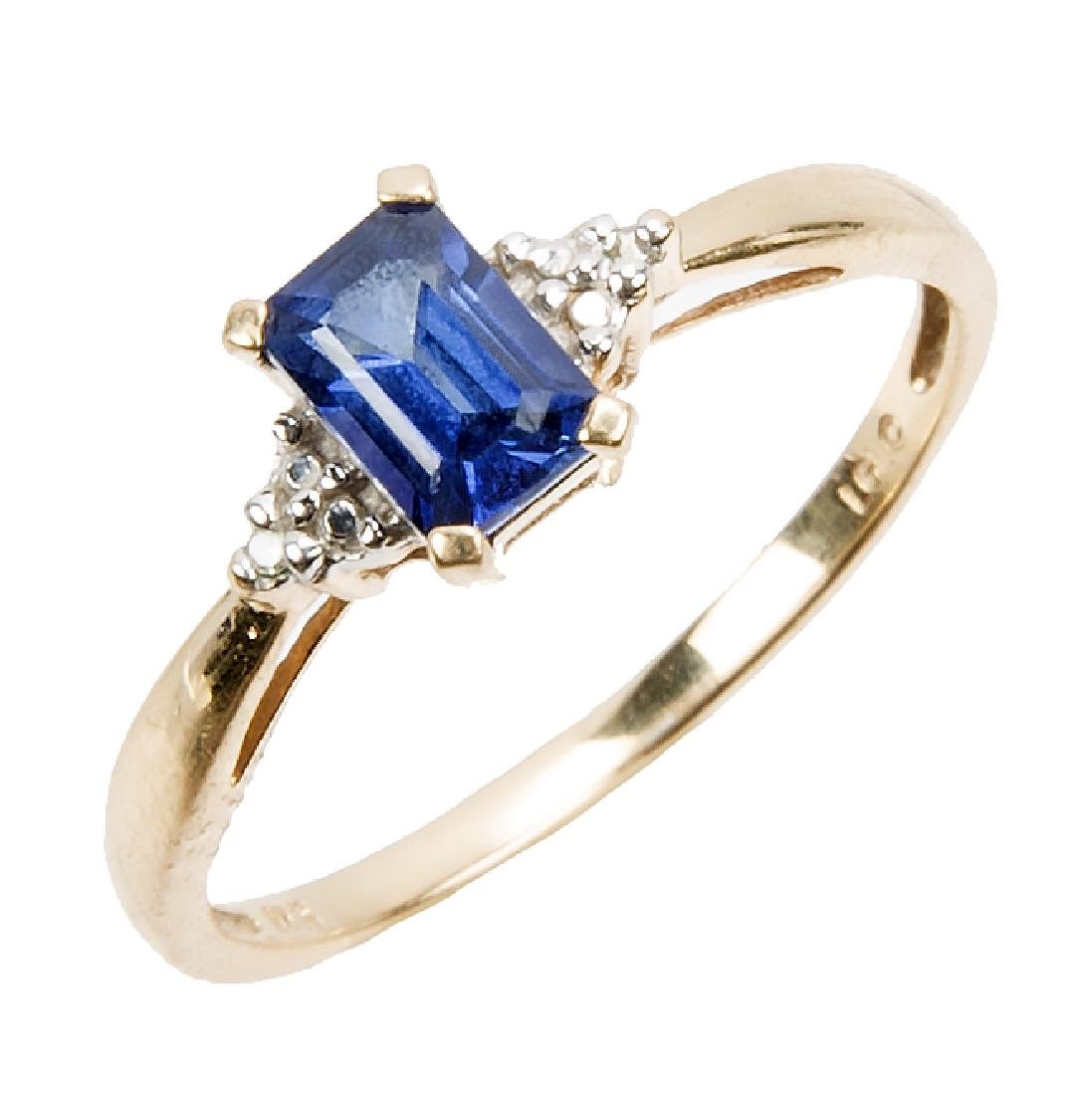 LADIES 10K YELLOW GOLD DIAMOND SAPPHIRE RING