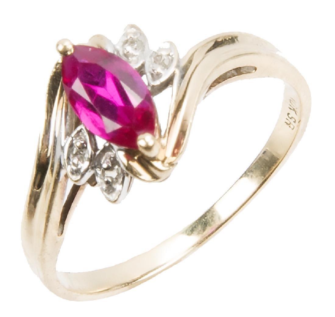 LADIES 10K YELLOW GOLD DIAMOND RUBY FASHION RING